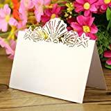 Sorive 50 Pack White Beach Themed Wedding Place Card Laser Cut Sea Shell Seashells Wedding Table Numbers Name PlaceCard