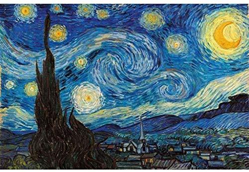Juguetes educativos Vaivén de Puzzles Adultos Niños, 1000/1500/2000/3000/5000 Piezas, Mundo famoso cuadro Pesca estrellada de Van Gogh pintura del girasol Puerto Petrolero, de madera Rompecabezas clás