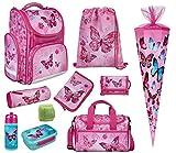 Mädchen Schulranzen-Set 10 TLG. Modell CLOU Ranzen 1. Klasse |Schultasche mit Brotzeit-Dose, Trink-Flasche, Sporttasche, Schultüte 85cm und Regenschutz | Butterfly Pink