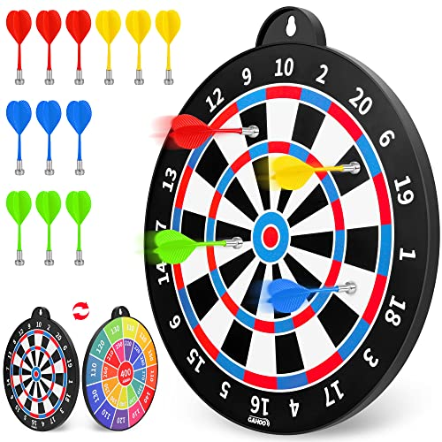GaHoo Magnetic Dart Board, Safe Dart Game Toy for Kids, 12pcs Magnetic Darts, Excellent Indoor Game and Party Game, Double Sided Dart Board Toys Gifts for 4 5 6 7 8 9 10 -12 Years Old Boy Girl Adults