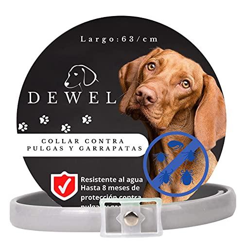 DEWEL Collar Antiparasitos para Perros contra Pulgas,Garrapatas y Mosquitos,Tamaño Ajustable e Impermeable