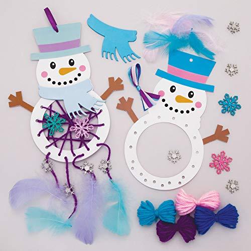 Baker Ross Kits Atrapasueños Muñeco de Nieve (paquete de 4) - Artes y manualidades navideñas