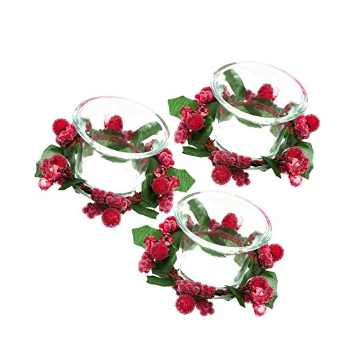 YuuHeeER Christmas Votive Candle Holders with Snowy Pinecone Berry Holder Rings Glass 3 Set