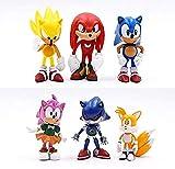 LJXGZY Figura de regalo para fans de anime de juguete de 6 piezas/set de acción Pvc Sonic Shadow Tails Personajes Anime Fans Colección Decoración Modelo Regalo de cumpleaños Estatua