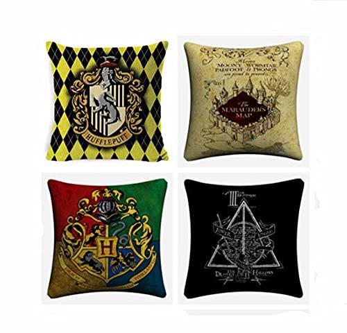 EPRHY 4 fundas de cojín de Harry Potter, 45 x 45 cm, fundas de almohada de lino para sofá, coche, sala de estar, jardín, granja decorativa