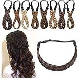 SEGO Diadema Trenza Elástica Mujer Pelo Sintético Se Ve Natural [Castaño Oscuro] Extensiones de Cabello Accesorios Braid Hair Headband (M-2.5cm)