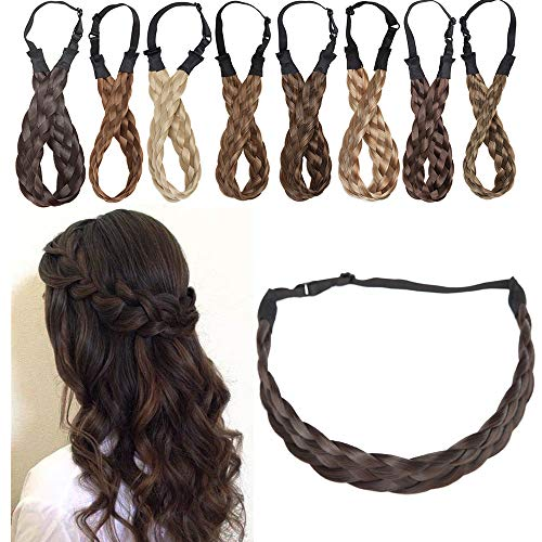 """Extensions Haarband geflochtene Braids Haar Haarverlängerung verstellbare Stirnband elastische Stretch Haarteil Beauty-Accessoire für Frauen Dunkelbraun M-2.5cm(1 """")-30g"""