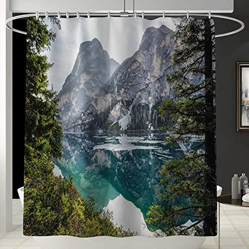 Cortina de Ducha Cortina de ducha Mountain Lakeside Fun cortina de ducha impermeable para ba?o tienda de campa?a ba?o cortina impermeable no se desvanece y universal cómoda cortina de ducha para ba?er