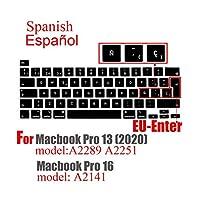 for Macbook Pro132020用新しいpro16キーボードカバースペイン語プロテクター付きキーボードケースキーボード保護フィルムA2289A2251A2141-EU Spain black