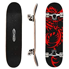 【Suitable for All Level Skaters】 31 x 8 inch full size double kick concave design with vintage pattern provides better control and easy to brake; this Skateboard is ideal for Beginner and Pro doing some basic stunts and other tricks. 【Durable & Stabl...