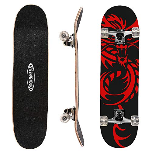 ChromeWheels 31 inch Skateboard Complete Longboard Double Kick Skate Board...