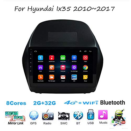 TypeBuilt Android 8.1 Autoradio Radio Navigationssystem Gürtel DAB+ Digitalradio Bluetooth USB Mirrorlink Sygic GPS Verkehrsinfo Navigation Für Hyundai Ix35 2010-2017,8 cores,4G+64G