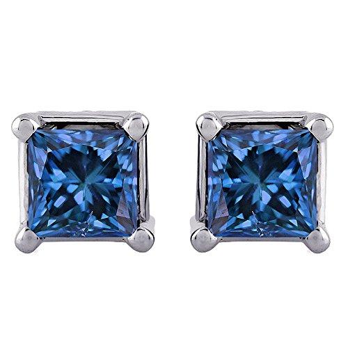 Blue - I1 Princess Cut Diamond Earring Studs in 14K White Gold (2 cttw)