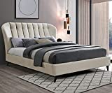 Grey Wooden Bed, Happy Beds Elm Warm Stone Velvet Fabric Bed High Headboard Modern Bed (4FT6 - Frame Only)