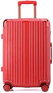 PC Business Swivel Boarding Luggage Travel Trolley Luggage Hard Case Zipper Red 22 Inch