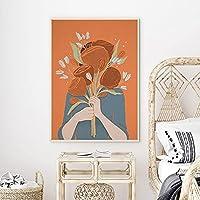 女の子の花のイラストアートプリントオレンジの花の花束キャンバス絵画女の子の部屋北欧の装飾額縁  50x70cmフレームなし