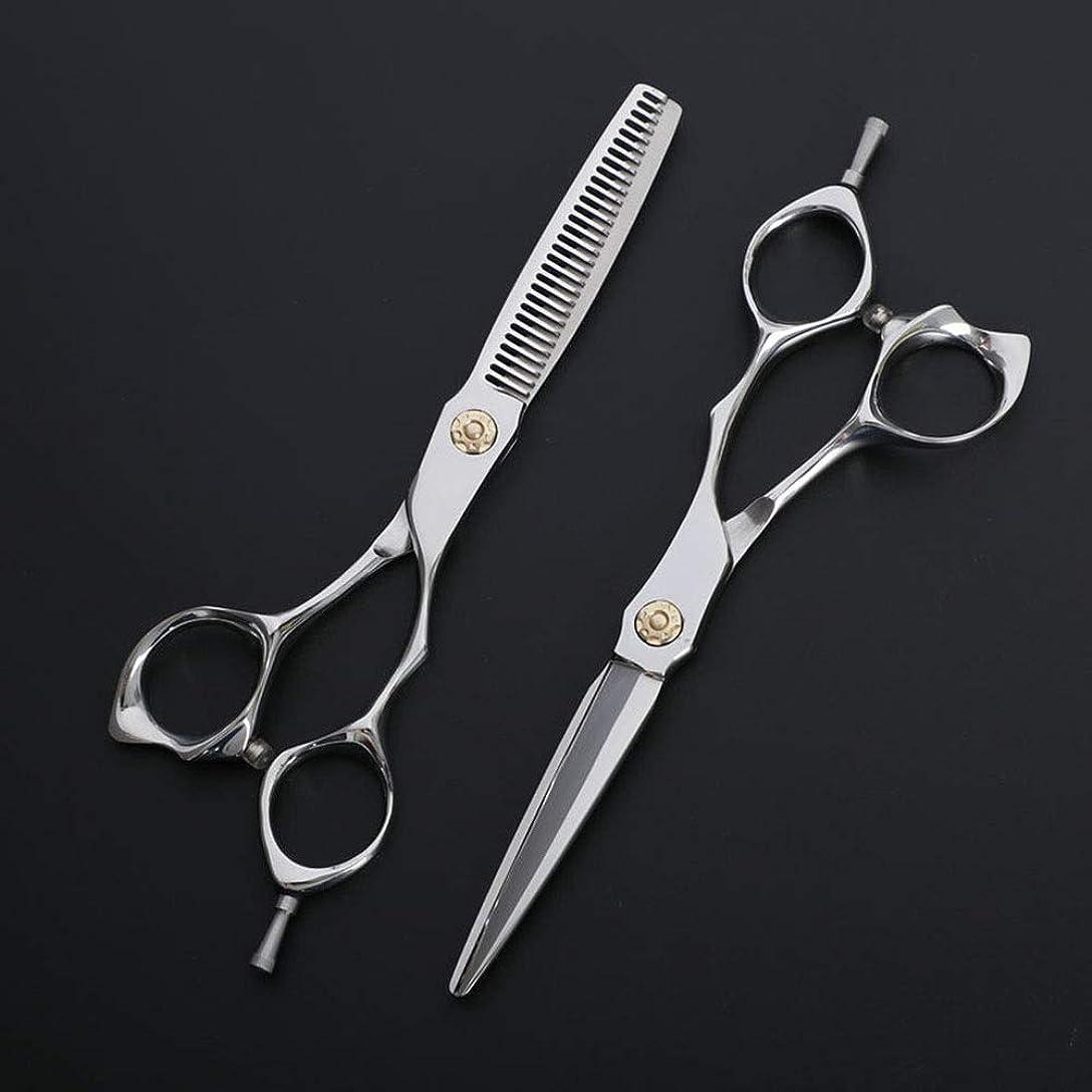 動物十分分離6インチ理髪はさみ、理髪店の特別なはさみ、ステンレス鋼フラット+歯はさみ散髪 モデリングツール (色 : Silver)