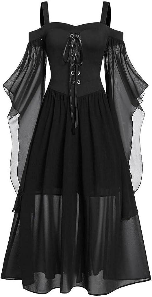 Masbird Plus Size Gothic Dress for Women Retro Butterfly Sleeve Medieval Renaissance Costumes Swing Long Princess Dress