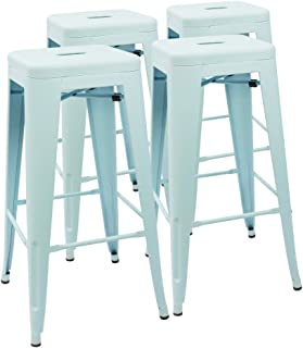 Devoko Metal Bar Stool 30'' Tolix Style Indoor/Outdoor Barstool Modern Industrial Backless Light Weight Bar Stools with Square Seat Set of 4 (Dream Blue)