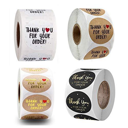 2000 Stück Danke für Ihre Bestellung Runde Kraftsticker, 500 Stück selbstklebende Aufkleber Handgemachte Aufkleber Etiketten für Rolle Deko für Geschenke DIY (1,5 Zoll)