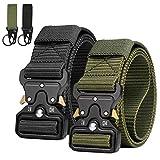 AivaToba Cinturón Táctico para Hombres, Cinturones de Cintura de Lona de Nailon Resistentes de Estilo Militar con Hebilla de Metal de Liberación Rápida para Entrenamiento de Caza Correr del Ejército.