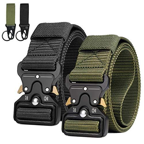 AivaToba Cintura Tattica da Uomo Sgancio Rapido Cintura da Lavoro in Tela di Nylon Stile Militare con Fibbia in Metallo (Nero + Army Green, 2 pacchi)