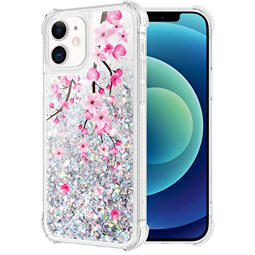 Caka Glitter Case for iPhone 12 Mini Case Flower for Girls Women Liquid Sparkle Bling Girly Blossom Floral Flowing Quicksand Bumper Transparent Case for iPhone 12 Mini (5.4 inches) (Cherry)