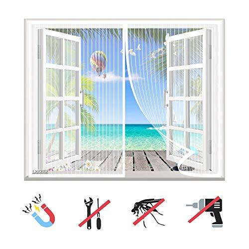 Magnet Fliegengitter Fenster, Insektenschutz Balkontür Fliegenvorhang Automatisch Schließen, ohne Bohren, für Balkontür Terrassentür Wohnzimmer-White-A|| 62x68inch(160x175cm)