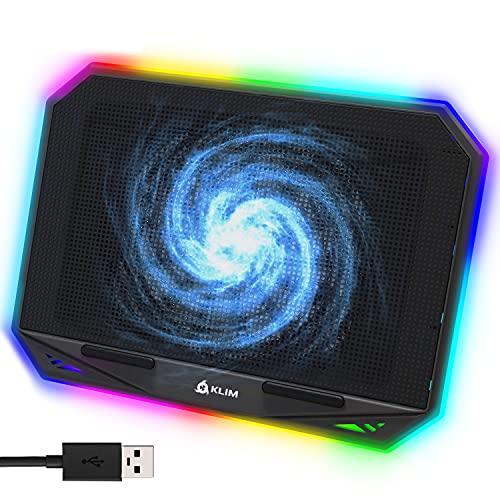KLIM K21 + Laptop Kühler Stand mit RGB Hintergrundbeleuchtung + 11' - 17' + Gaming Notebook Kühler für den Schreibtisch + USB Lüfter + sehr stabil und leise + Kompatibel mit Mac und PS4 + NEU 2021
