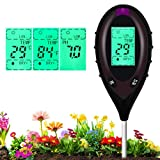 Soil Tester Moisture 4-in-1 Meter PH Levels Temperature Sunlight Lux Intensity Measuring Tool LCD Display for Garden Farm Lawn Indoor Outdoor Plant, Brown