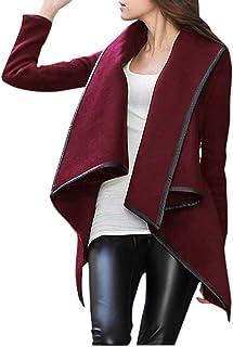 Romacci Women Open Front Poncho Coat Asymmetric Thin Jacket Temperament Overcoat Loose Long Outerwear Red