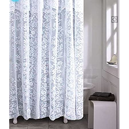 Spring Home Romance Lace Fabric Shower Curtain With An Attached Valance 70 X 72 Long Home Kitchen