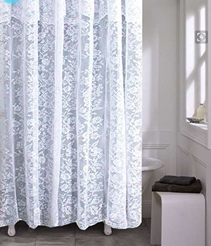 spring Home Romance Lace Fabric Shower Curtain with an Attached Valance, 70 X 72 Long