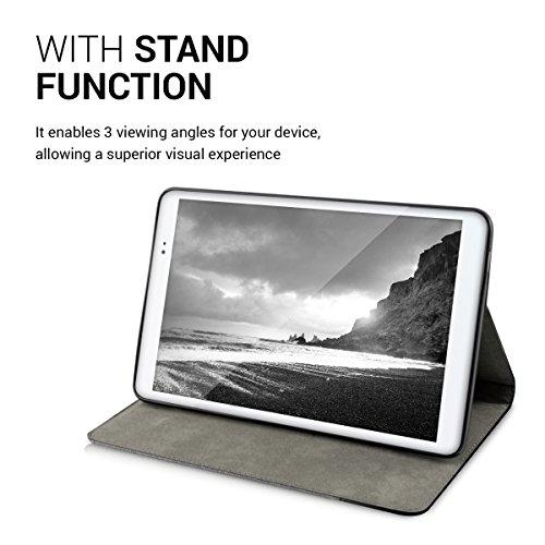 kwmobile Huawei MediaPad T1 10 Hülle - Tablet Cover Case Schutzhülle für Huawei MediaPad T1 10 - Grau Schwarz mit Ständer - 5