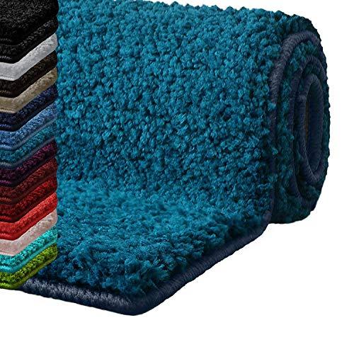 casa pura Badematte Hochflor Sky Soft | Weicher, Flauschiger Badezimmerteppich in Shaggy-Optik | Badvorleger rutschfest waschbar | schadstoffgeprüft | 16 Farben in 6 Größen (60x50 cm, türkis)