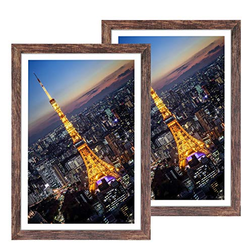 Q.Hou 13x19 Picture Frame Wood Patten Rustic Brown Set of 2, Wall Hanging, Smooth Molding & Acrylic Cover, Great for Art Prints, Poster, Mural and Picture(QH-PF13X19-BR)