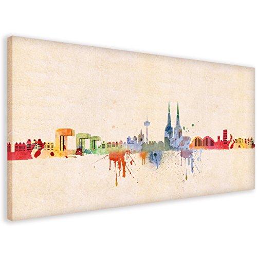 Kunst Druck auf Leinwand - Skyline Köln DiChyk (div. Farben & Größen) Bild fertig auf Keilrahmen ! Graffiti Like Banksy Art Gemälde Kunstdrucke, W (40x80cm)