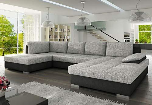 BMF NELLY MAXI Sofá cama esquinero en forma de U de cualquier color de piel sintética o tela, con almacenamiento de cama, orientado a la izquierda, 317 cm x 190 cm x 173 cm