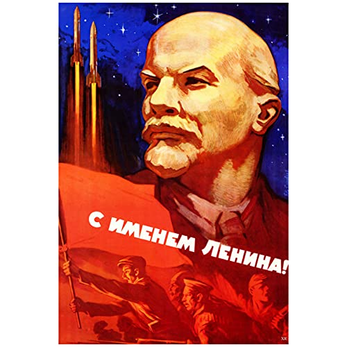 zkpzk Lenin Flagge UDSSR Sowjetrussland Vintage Poster Weltraum Klassische Leinwand Gemälde Vintage Wandkunst Bilder Poster Kunstwerk Wohnkultur Geschenk-50X70Cmx1 Kein Rahmen