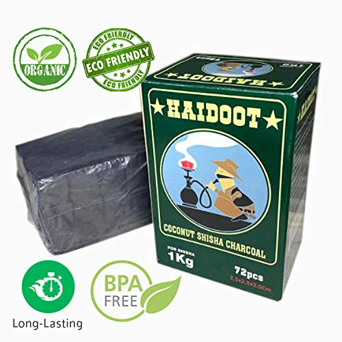 Haidoot Coconut Hookah Coals-Natural Charcoal Briquettes for Your Hookah Set- Essential Fire Tablet, Tasteless and Odorless, Slow Burn, Less Ash, Large Cubes, 1 KG Packs, Shisha Accessories