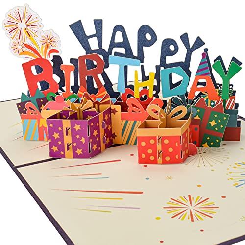 AIBAOBAO Tarjeta de Cumpleaños 3D, Tarjeta de Felicitación 3D Pop-up San Valentín Creativa Emergente con Happy Birthday Caja, para Familia, Día del Niño, Amigo para Cumpleaño, Novias, Aniversario