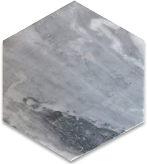 Bardiglio Gray Italian Dark Grey Marble Hexagon Tile 6 inch Honed
