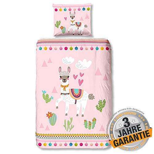 Aminata Kids süße Bettwäsche-Set Lama-Motiv 135 x 200 cm + 80 x 80 cm Mädchen, aus Baumwolle mit Reißverschluss, unsere Kinder-Bettwäsche mit Alpaka-Motiv ist weich & kuschelig, Kaktus, rosa