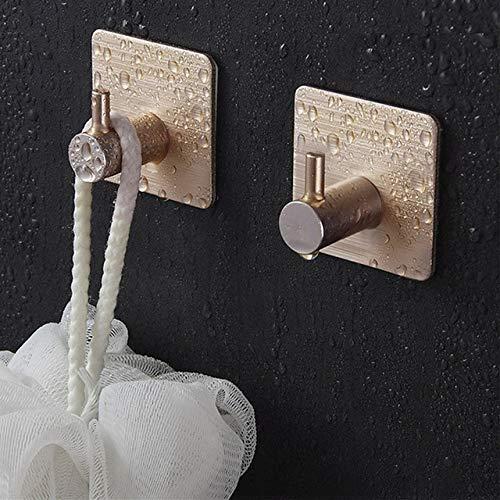 Aututer 2 piezas de aleación de aluminio autoadhesivo para el hogar de la cocina colgante de la puerta del gancho de la llave del gancho del estante de la toalla del baño gancho, H-02, 4.5*4.5*2.6CM