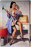 Cartel de chapa Pin Up Pinup Hot Sexy Girl Lady Retro Reklame Cartel publicitario...