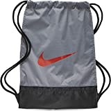 Nike Brasilia Training Gymsack, Drawstring Backpack with Zippered Sides, Water-Resistant Bag, Cool Grey/Black/Habanero Red