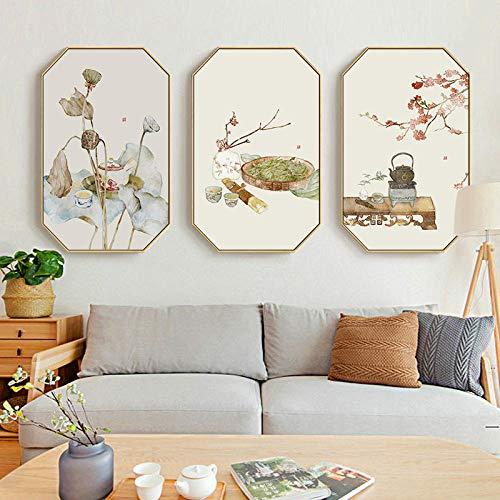 LKXL Pintura Decorativa salón de té Estilo Antiguo japonés Pintura meticulosa Loto Comedor Mesa de Comedor Mural de Pared Sala de Estar Moderna Pintura Colgante