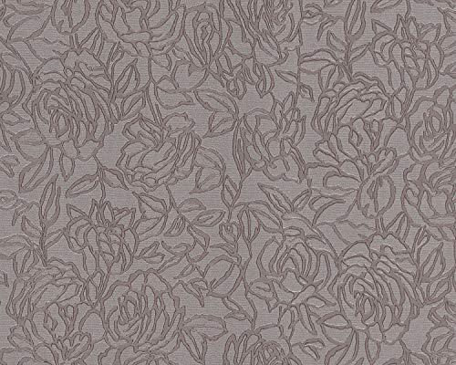 Blumen Tapete EDEM 9040-22 heißgeprägte Vliestapete geprägt mit floralem Muster glänzend grau braun 10,65 m2
