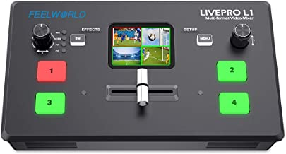 FEELWORLD LIVEPRO L1 V1 Multi Camera Video Mixer Switcher 2 Inch LCD Display 4 x HDMI Inputs USB 3.0 Output Format Real Ti...