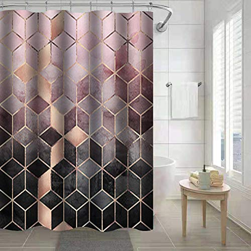 FINROS Shower Curtain, Waterproof Fabric Shower Curtain 72 x 72 Inch Washable Heavy Duty Shower Curtain for Bathroom (Color Squares)